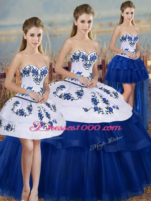 Royal Blue Ball Gowns Sweetheart Sleeveless Tulle Floor Length Lace Up Embroidery and Bowknot Quinceanera Dress