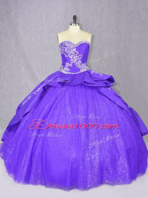 Trendy Purple Sleeveless Embroidery Lace Up Sweet 16 Dresses