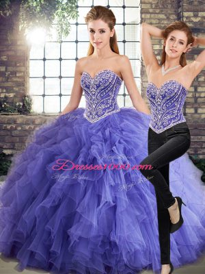 Lavender Two Pieces Beading and Ruffles Sweet 16 Dresses Lace Up Tulle Sleeveless Floor Length