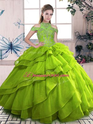 Flirting Olive Green Lace Up Vestidos de Quinceanera Beading and Ruffled Layers Sleeveless Floor Length