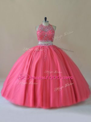 Coral Red Sleeveless Floor Length Beading Backless Quinceanera Dress