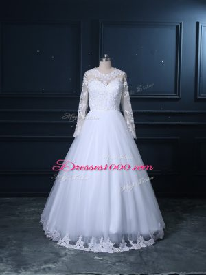 Tulle Long Sleeves Wedding Dress Brush Train and Lace