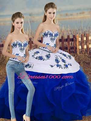 Pretty Tulle Sleeveless Floor Length Quinceanera Dress and Embroidery and Ruffles and Bowknot