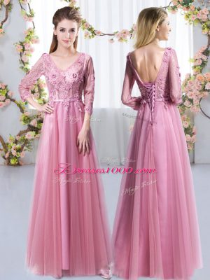 Custom Design 3 4 Length Sleeve Floor Length Lace and Appliques Lace Up Quinceanera Court of Honor Dress with Pink