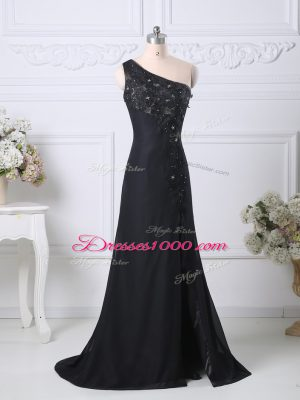 On Sale Black Column/Sheath Beading and Lace Evening Dress Side Zipper Taffeta Sleeveless
