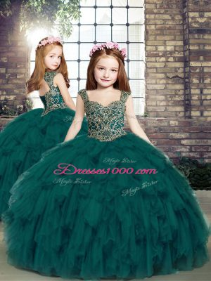 Fashion Teal Tulle Lace Up Straps Sleeveless Floor Length Little Girl Pageant Dress Beading and Ruffles