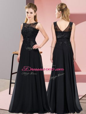 Cute Black Scoop Zipper Beading and Appliques Bridesmaid Gown Sleeveless