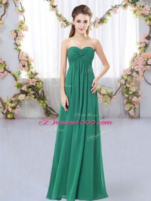 Super Sleeveless Floor Length Ruching Zipper Quinceanera Court Dresses with Dark Green