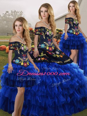 Noble Blue And Black Sleeveless Organza Lace Up Quinceanera Gown for Military Ball and Sweet 16 and Quinceanera