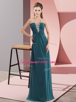 Chic Teal Sleeveless Beading Floor Length Prom Dresses