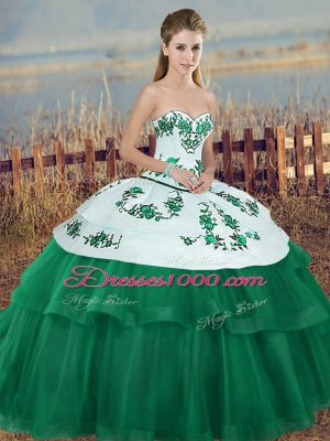 Amazing Floor Length Lace Up Vestidos de Quinceanera Green for Military Ball and Sweet 16 and Quinceanera with Embroidery and Bowknot