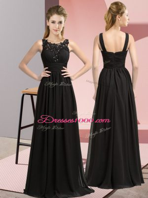 Customized Black Chiffon Zipper Bridesmaid Dress Sleeveless Floor Length Beading and Appliques