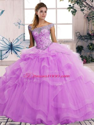 Lilac Off The Shoulder Neckline Beading and Ruffles Quinceanera Gown Sleeveless Lace Up