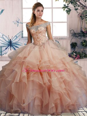 Ideal Pink Ball Gowns Beading and Ruffles Quinceanera Dress Lace Up Organza Sleeveless Floor Length