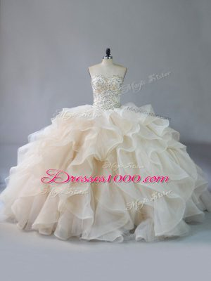 Champagne Vestidos de Quinceanera Sweetheart Sleeveless Brush Train Lace Up
