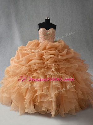 Discount Gold Ball Gowns Organza Sweetheart Sleeveless Beading and Ruffles and Pick Ups Floor Length Lace Up Ball Gown Prom Dress