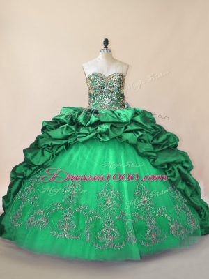 Stunning Green Quinceanera Dress Sweet 16 and Quinceanera with Beading and Pick Ups Sweetheart Sleeveless Brush Train Lace Up