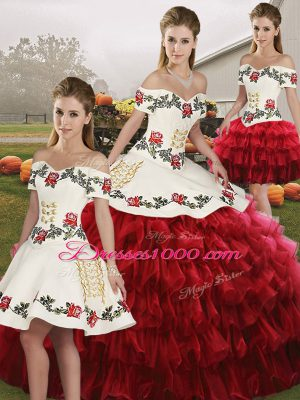Wine Red Sleeveless Organza Lace Up Quinceanera Gowns for Military Ball and Sweet 16 and Quinceanera