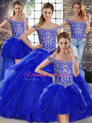 Nice Sleeveless Beading and Ruffles Lace Up Sweet 16 Quinceanera Dress with Royal Blue Brush Train