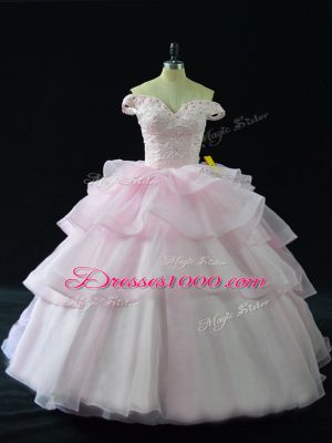 Top Selling Pink Off The Shoulder Neckline Beading and Ruffled Layers Sweet 16 Dress Sleeveless Lace Up