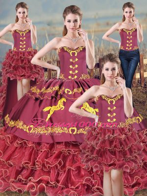 Top Selling Burgundy Lace Up Sweetheart Embroidery Sweet 16 Dress Organza Sleeveless Brush Train