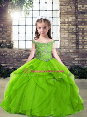 Fantastic Beading and Ruffles Little Girl Pageant Gowns Side Zipper Sleeveless Floor Length