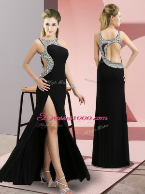 Custom Made Scoop Sleeveless Backless Homecoming Dress Black Elastic Woven Satin
