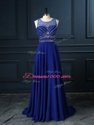 Royal Blue Scoop Criss Cross Beading Prom Gown Brush Train Sleeveless