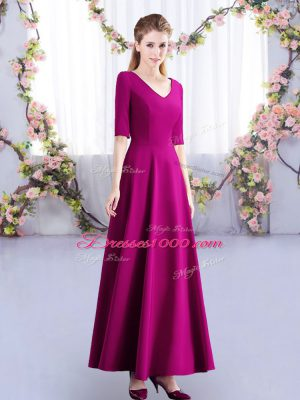 Vintage Fuchsia Dama Dress for Quinceanera Wedding Party with Ruching V-neck Half Sleeves Zipper