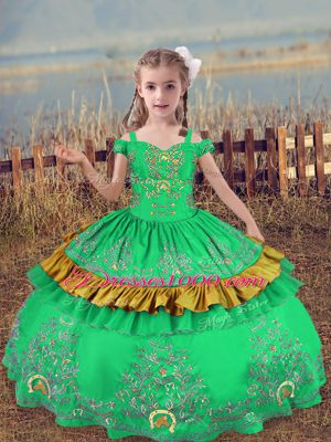 Latest Turquoise Lace Up Off The Shoulder Beading and Embroidery Little Girls Pageant Dress Wholesale Satin Sleeveless