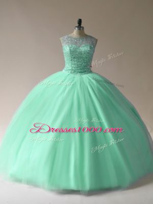 Popular Apple Green Sleeveless Beading Floor Length Vestidos de Quinceanera