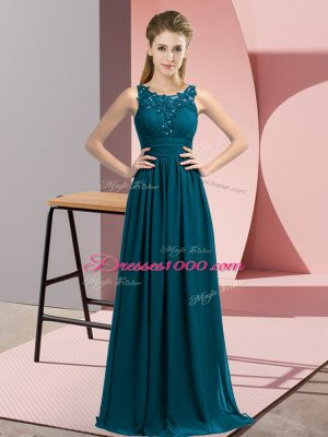 Suitable Teal Chiffon Zipper Quinceanera Dama Dress Sleeveless Floor Length Beading and Appliques