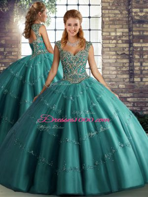 Sweet Floor Length Teal Quinceanera Dress Straps Sleeveless Lace Up