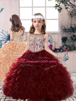 Sweet Scoop Sleeveless Little Girl Pageant Gowns Floor Length Beading and Ruffles Burgundy Organza