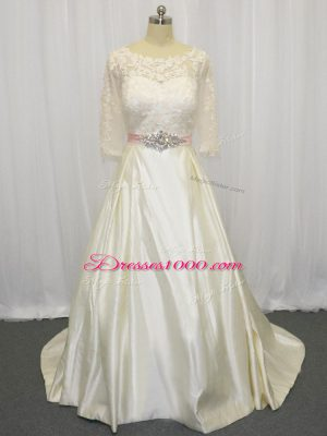 Customized White Half Sleeves Brush Train Beading and Lace Wedding Gown