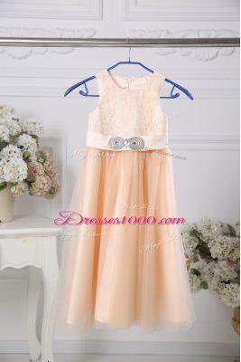 Floor Length Peach Toddler Flower Girl Dress Scoop Sleeveless Zipper