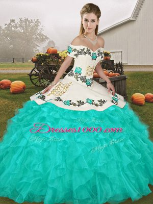 Turquoise Sleeveless Embroidery and Ruffles Floor Length Quinceanera Gowns