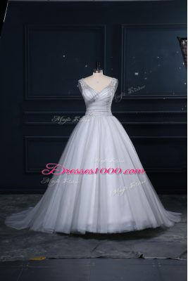 Appliques Wedding Gown Grey Lace Up Sleeveless Brush Train