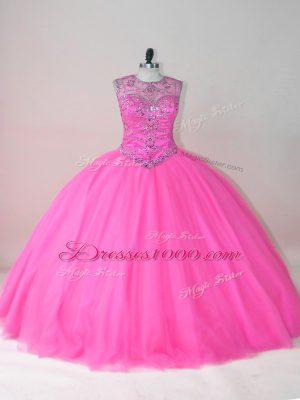 Exquisite Scoop Sleeveless Quinceanera Dress Floor Length Beading Rose Pink Tulle