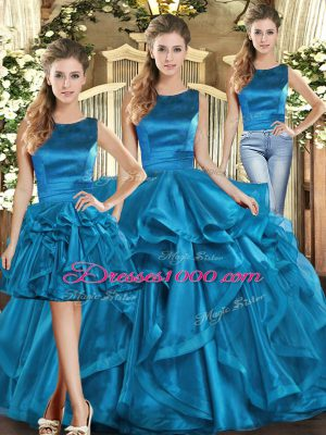 New Style Three Pieces Quinceanera Dress Teal Scoop Organza Sleeveless Floor Length Lace Up