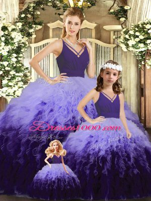 Multi-color Tulle Backless V-neck Sleeveless Floor Length Sweet 16 Quinceanera Dress Ruffles and Ruching