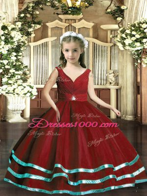 Wine Red Party Dress for Toddlers Party and Wedding Party with Beading and Ruching V-neck Sleeveless Backless