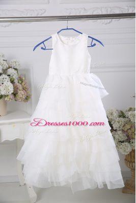 Sleeveless Ruffled Layers Zipper Flower Girl Dresses