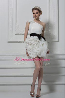 Delicate White Side Zipper Wedding Dresses Belt and Hand Made Flower Sleeveless Mini Length
