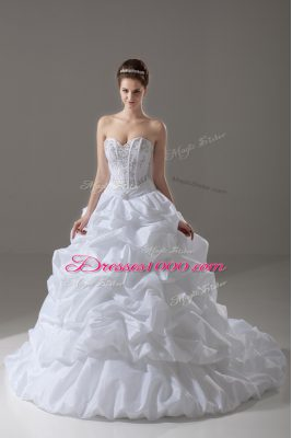 Sleeveless Brush Train Lace Up Beading and Pick Ups Wedding Dress