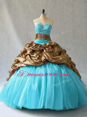 Perfect Aqua Blue Ball Gowns Organza and Printed V-neck Sleeveless Beading and Pick Ups Lace Up Quinceanera Dress