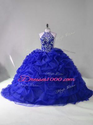 Amazing Royal Blue Halter Top Neckline Beading and Pick Ups Quinceanera Dresses Long Sleeves Lace Up