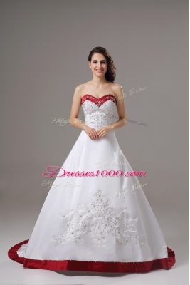 Wonderful White Sleeveless Satin Brush Train Lace Up Wedding Dresses for Wedding Party