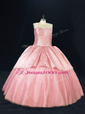 Pink Ball Gowns Tulle Scoop Sleeveless Beading Floor Length Lace Up Quinceanera Gown