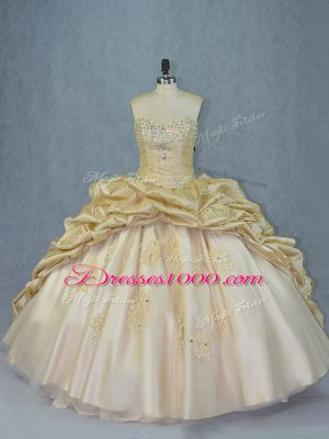 Custom Fit Champagne Organza and Taffeta Lace Up Sweetheart Sleeveless Quinceanera Gown Brush Train Beading and Appliques